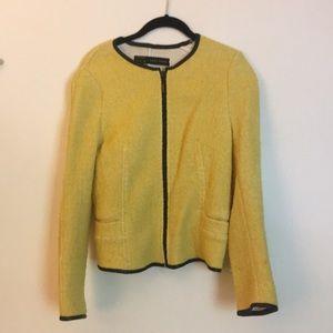 Zara large tweed yellow and leather trim jacket